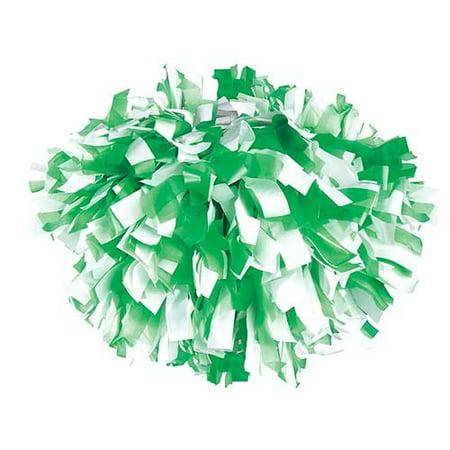 Pizzazz Kelly Green White 2 Color Plastic Cheer Single Pom Pom