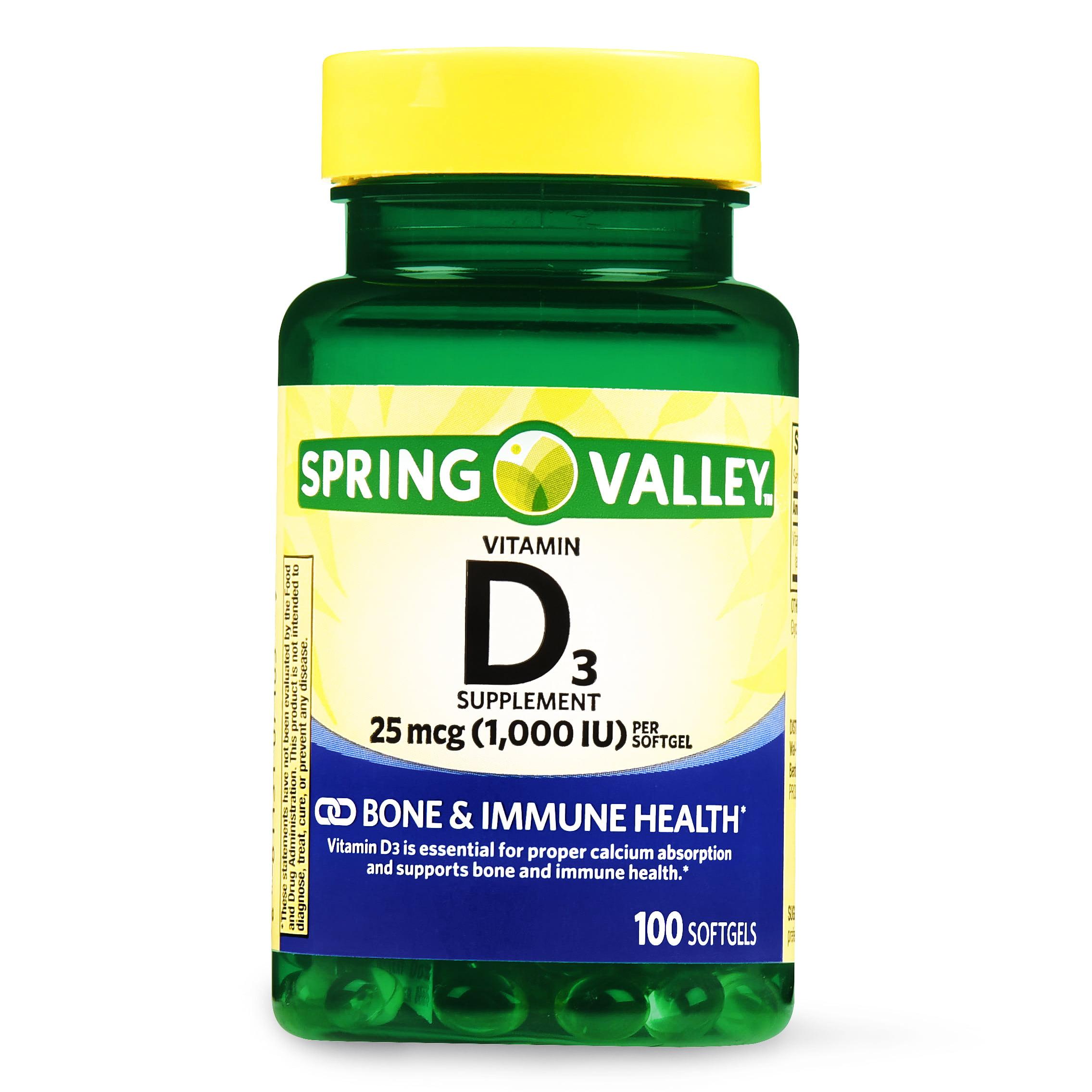 (2 Pack) Spring Valley Vitamin D3 Softgels, 1000 IU, 100 Ct
