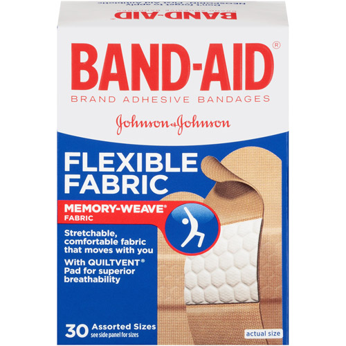 Band-Aid Brand Flexible Fabric Adhesive Bandages, Assorted Sizes, 30 Count