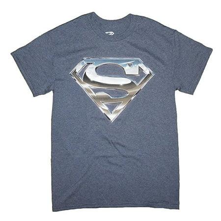 DC Comics Superman Juniors Unique SIlver Symbol Mens Shirt? (MEDIUM)   - Super Man Symbol