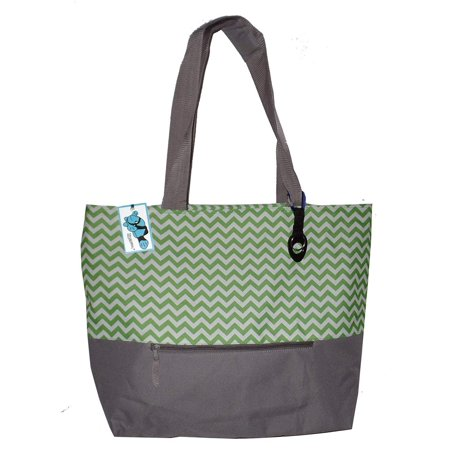 XL Beach Tote Chevron Print Weekender Bag with Mesh Webbed Handles and Outer Zippered PocketCan Be Personalized (Blank, Lime - Mesh Weekender