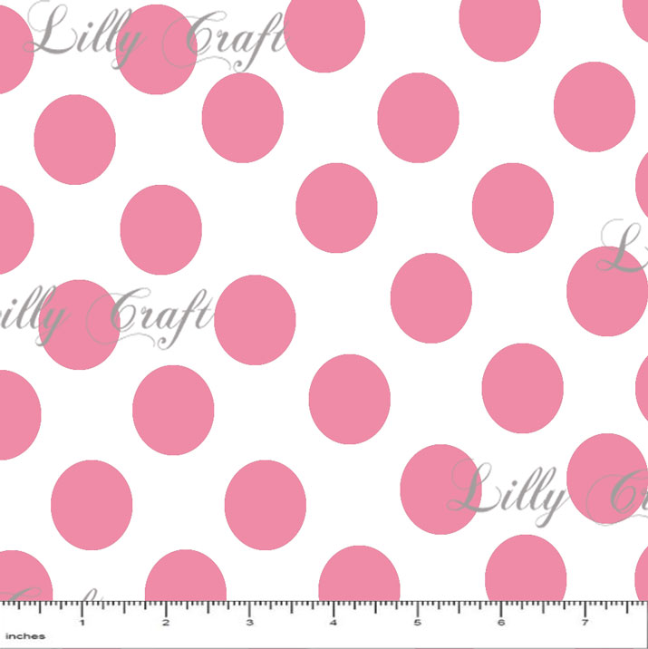"""1"""" Pink Dots on White Poly Cotton Fabric - Sold By The Yard - 58"""" / 59"""""""
