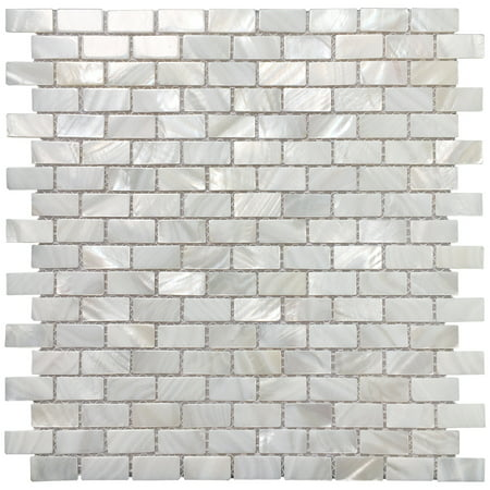 Art3d Mother of Pearl Mosaic Tiles for Bathroom Backsplashes, White Subway Backsplash Tiles(1 Piece)