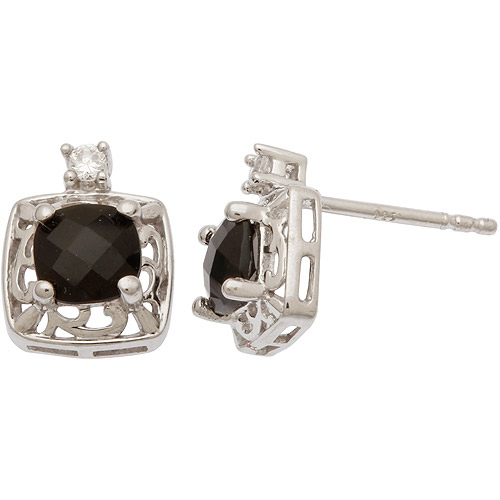 CZ and Onyx Sterling Silver Earrings
