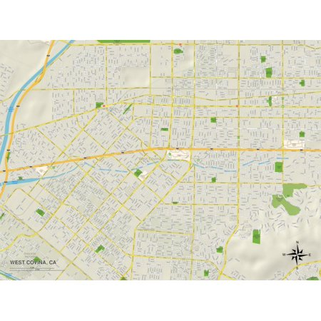 Political Map of West Covina, CA Print Wall Art for $<!---->