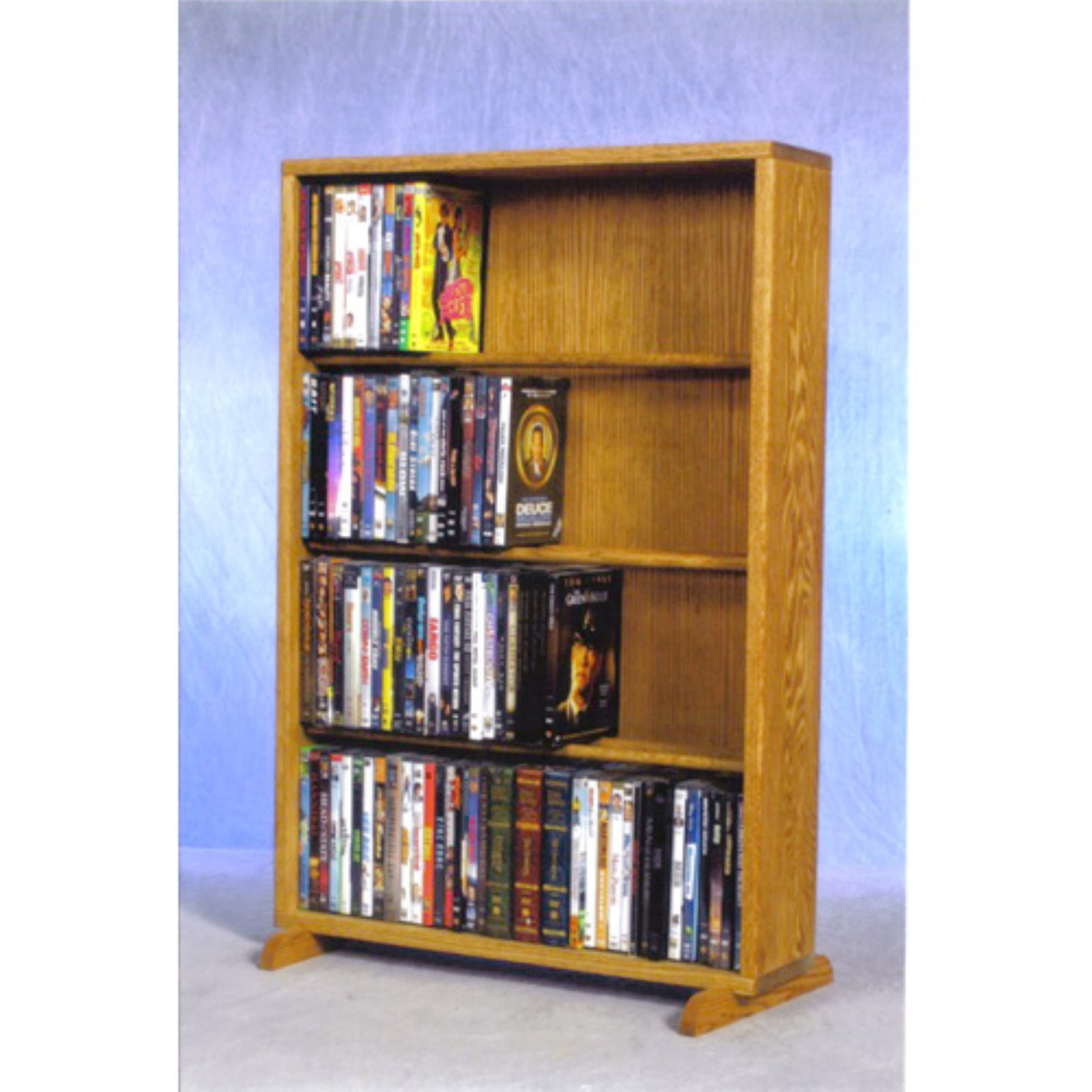 The Wood Shed Solid Oak 4 Row Dowel CD   DVD Combination Media Rack 24 in. Wide by The Wood Shed