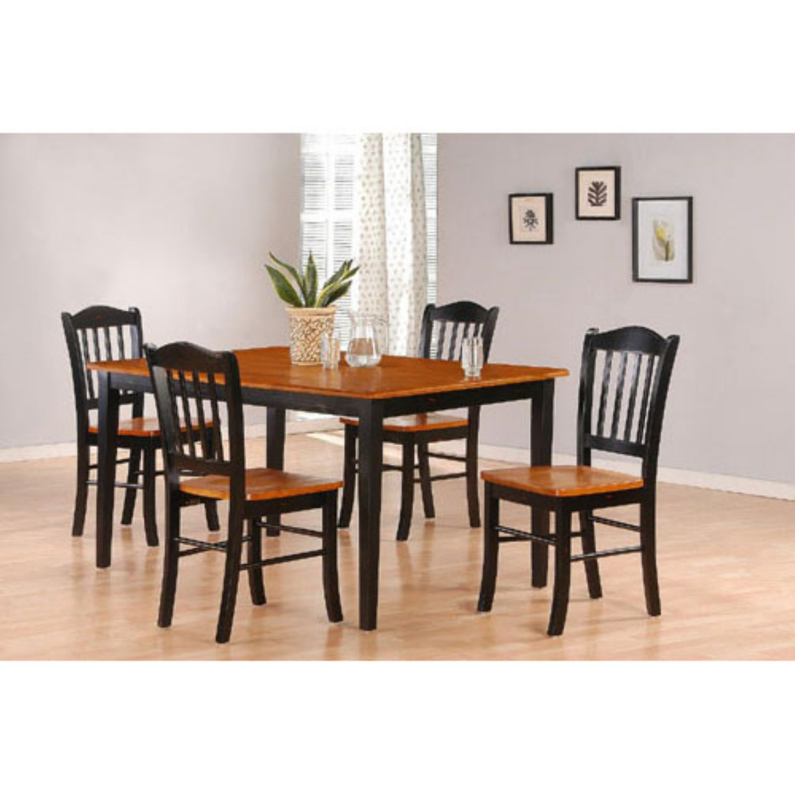 Dining Sets Black: Boraam 5-Piece Shaker Dining Set, Black/Oak