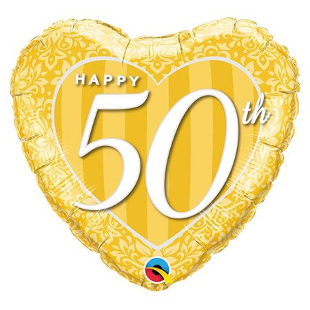 Qualatex 85647 18 in. Happy 50th Anniversary Damask Heart Flat Foil Balloon - Pack of 5 - image 1 of 1