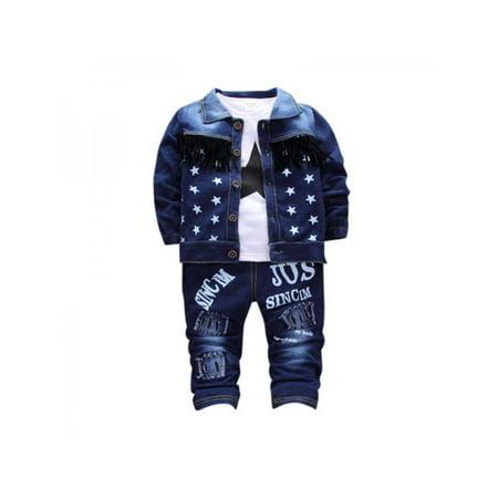 Ropalia 3PCS Children Clothing Sets Autumn Sport Suit Baby Boys Clothes Long Sleeve Set For Children Coat + T-shirt + Jeans - Baby T Bird Jacket