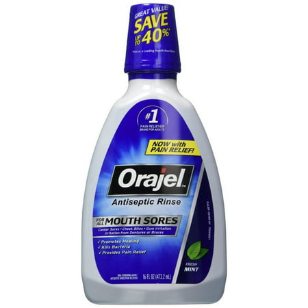 2 Pack - Orajel Antiseptic Mouth Sore Rinse 16 oz Mouth Sore Rinse