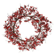 """Northlight 24"""" Unlit Red/Burgundy Currant Berry Artificial Christmas Wreath"""
