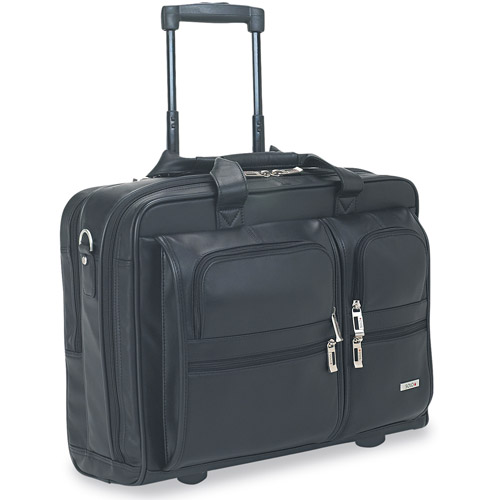 "Solo Leather Rolling Case for 15.4"" Laptops, Black"
