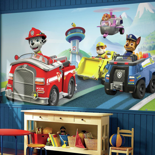 RoomMates Paw Patrol XL Chair Rail Prepasted Mural, 6' x 10.5', Ultra-Strippable