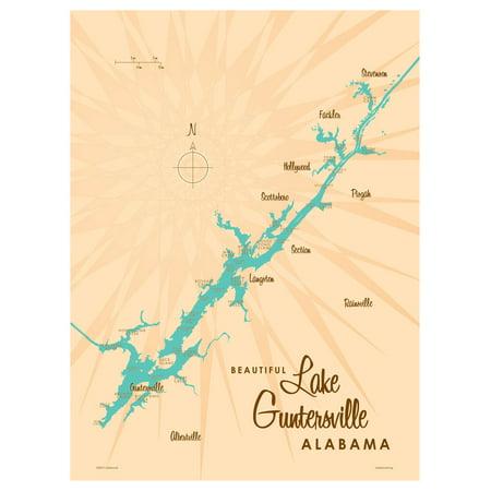 Lake Guntersville Alabama Map Vintage-Style Art Print by Lakebound (9
