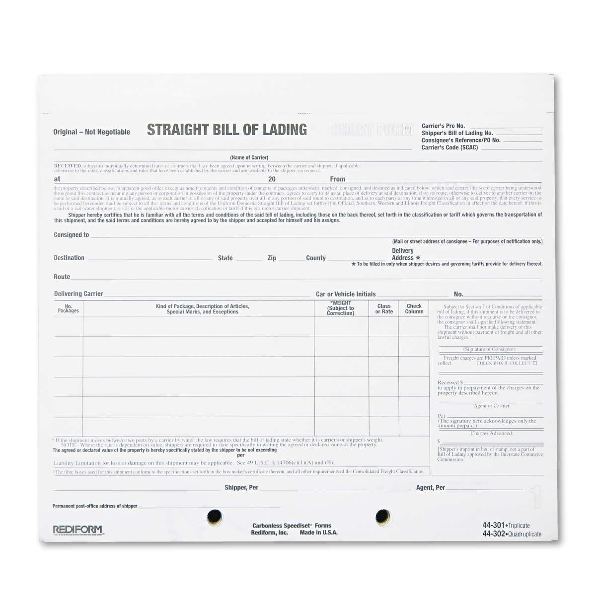 Rediform Bill of Lading Short Form, 7 x 8 1 2, Four-Part Carbonless, 250 Forms by REDIFORM OFFICE PRODUCTS