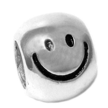 Queenberry Sterling Silver Happy Face European Bead Charm Fits Pandora ()