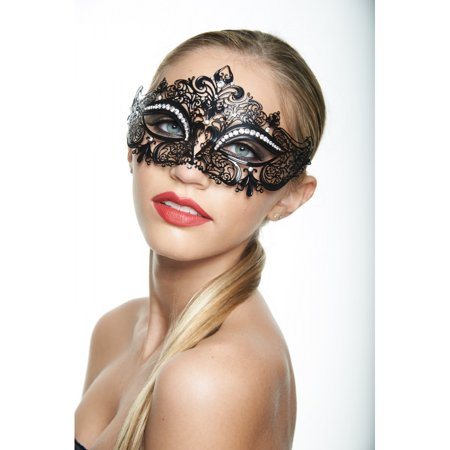 KAYSO INC K2001BK CLASSIC CROWNE BLACK LASER CUT MASQUERADE MASK WITH CLEAR RHINESTONES