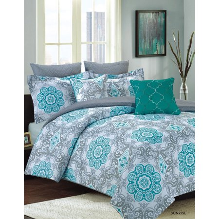 bedding comforter 7 piece king size bed set teal blue and gray medallion. Black Bedroom Furniture Sets. Home Design Ideas