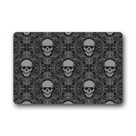 WinHome Suger Skull and Flower Doormat Floor Mats Rugs Outdoors/Indoor Doormat Size 23.6x15.7 inches
