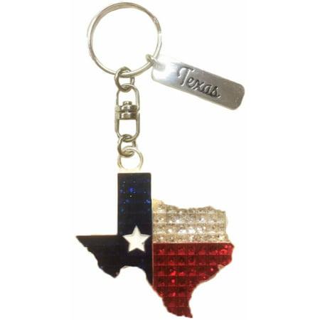 State of Texas Diamond Encrusted Souvenir - Diamond Ring Keychain