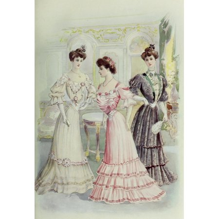 Latest Paris Fashions 1877 Toilettes de Soiree Poster Print by Unknown - Soiree Halloween Paris