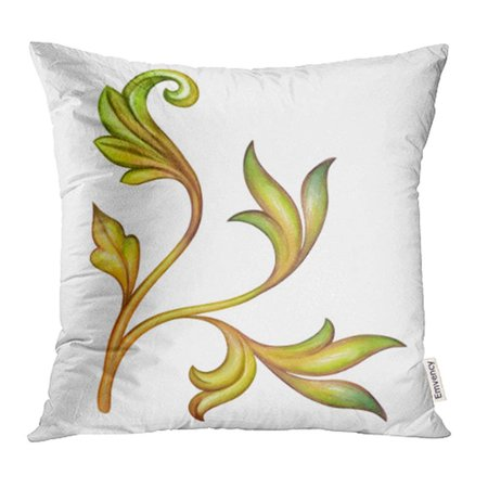 Cmfun Watercolor Green Leaves Acanthus Antique Design Meval Fl Vintage Clip Pillow Case Cover 16x16 Inch Throw Covers