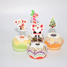 24pcs Christmas Cupcake Toppers Santa Claus Muffin Cake Picks for Birthday Christmas Theme Party Holiday (80s Themed Cakes)