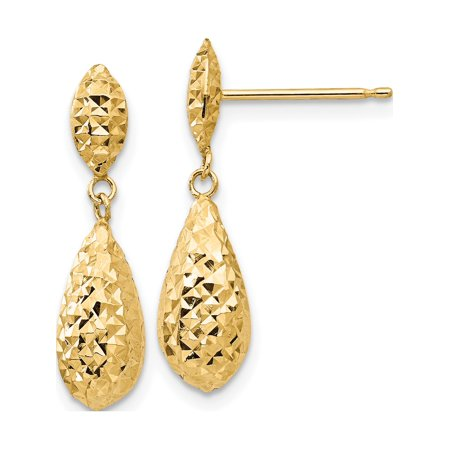 14k Dangle Earrings (14k Yellow Gold Diamond-cut Puff Teardrop Dangle (6x22mm))
