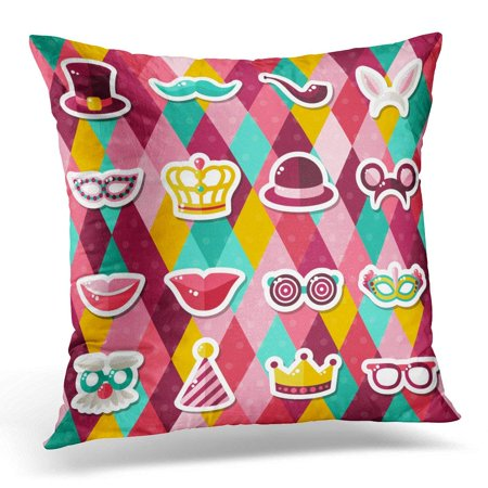 CMFUN White Purim of Carnival Masks on Colorful Geometric Masquerade Party Stickers Booth Pillow Case Pillow Cover 20x20 inch](Carnival Booths)
