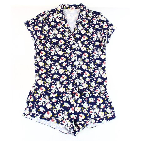 Nordstrom Rack New Blue Womens Size Xl Button Floral Shorts Pajama Set