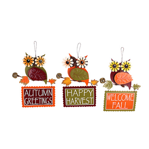 Attraction Design Home 3 Piece Funky Owl Autum Sign Wall D cor Set