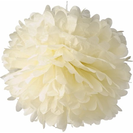 12 Tissue Ball (Quasimoon EZ-FLUFF 12'' Beige Tissue Paper Pom Poms Flowers Balls, Decorations (4 Pack) by PaperLanternStore )