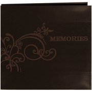 "Embroidered Scroll Leatherette Post Bound Album 12""X12""-Brown"