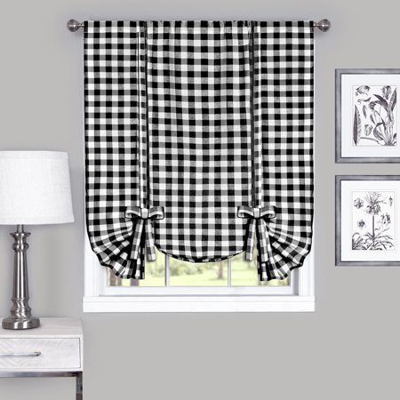 Country Chic Plaid Gingham Tie Up Shade Window Curtain Treatment - (Black Country Windows)
