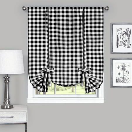 Country Chic Plaid Gingham Tie Up Shade Window Curtain Treatment - Black ()