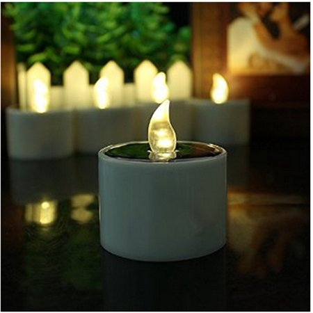 6 Pieces Yellow Flicker Solar Power LED Light Candles-flameless Electronic Solar LED Lamp Nightlight Powered-plastic Solar Energy Candle (Flameless Lamps)