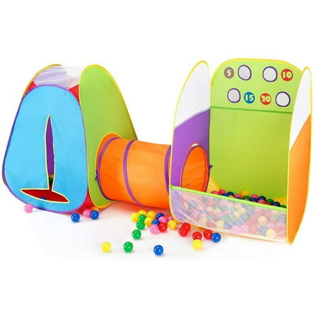 3 in 1 Play Tent Tunnel Set Children Baby Play House Ball Pit Indoor Outdoor Toy Tent (with 4 Balls)