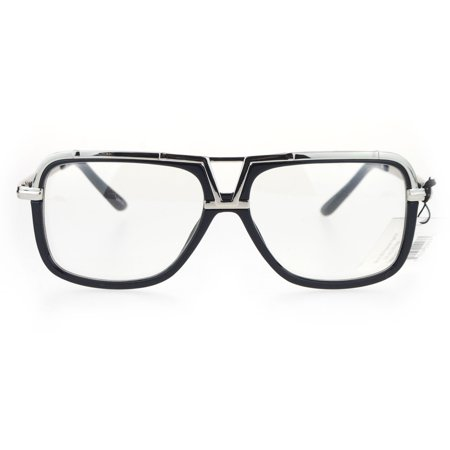SA106 Mens Racer Aviator Retro Hip Hop Rapper Clear Lens Glasses Black Silver