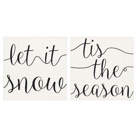 Let it Snow & Tis the Season by Willowbrook Fine Art Holiday Canvas Art Print Set of 2 ()