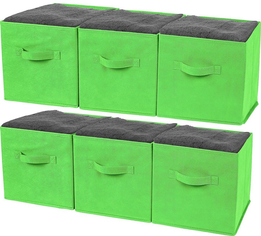 Greenco Foldable Storage Cubes Non-woven Fabric (6 Pack, Green)