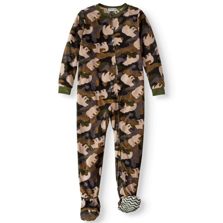 Boys' Bear Camo Footed Pajama Sleeper (Little Boys & Big (Camouflage Sleeper)
