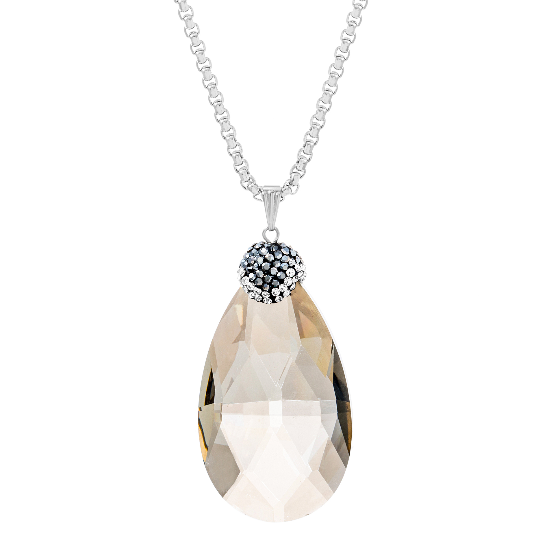 Silver-Tone Stainless Steel Cubic Zirconia and Marcasite Faceted Oval Stone Necklace
