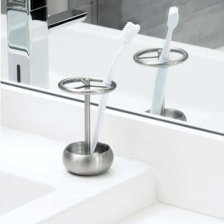InterDesign Nogu Bath, Toothbrush Holder Stand for Bathroom Vanity Countertops, Brushed Stainless Steel (Bath Countertop Accessories)