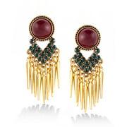 TAZZA WOMEN'S BURGUNDY AND GREEN CRYSTAL GOLD TASSEL   EARRINGS