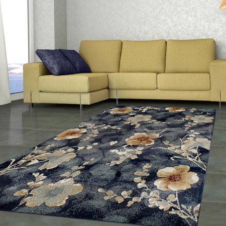 Superior High Quality Soft, Plush and Durable 10mm Moisture and Mildew Resistant Fiore Collection Area Rug, 5' x 8' Navy Blue ()