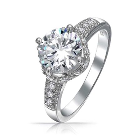 2.5CT Round Crown Set Brilliant Solitaire AAA CZ Engagement Ring For Women Pave Band Cubic Zirconia 925 Sterling Silver