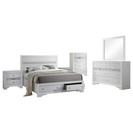 Tokyo 6 Piece Bedroom Set, King, White Wood, Contemporary (Storage Panel Bed, Dresser, Mirror, Chest, 2 Nightstands) California King Set Dresser