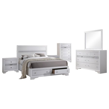 Tokyo 6 Piece Bedroom Set, King, White Wood, Contemporary (Storage Panel Bed, Dresser, Mirror, Chest, 2 Nightstands) ()