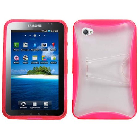 MYBAT Transparent Clear/Pink (w/ Stand) Gummy Cover for P1000 (Galaxy Tab)