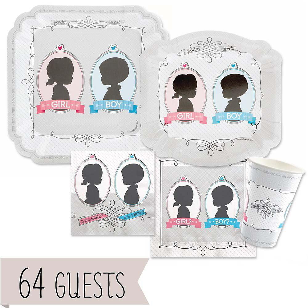 Gender Reveal - Party Tableware Plates, Cups, Napkins - Bundle for 64